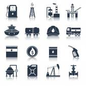 Oil Industry Icons Black — Stock Vector
