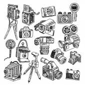 Camera doodle sketch icons set — Stock Vector