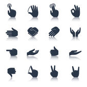 Hand Icons Black — Vector de stock