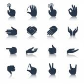 Hand Icons Black — Vecteur