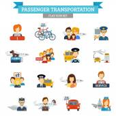 Passenger Transportation Icon Flat — Stock Vector