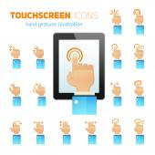 Touch screen gestures icons — Vector de stock