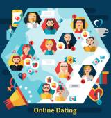 Online Dating Concept — Stock Vector