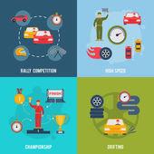 Auto Sport Flat — Stock Vector