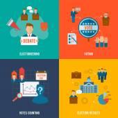 Election Flat Set — Stock Vector