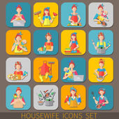 Housewife Icons Set — Stock Vector