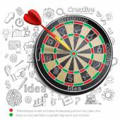 Creative Background With Dartboard — Stock Vector