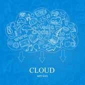 Doodle Social Cloud — Stock Vector