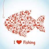 Love Fishing Concept — Stock Vector
