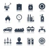 Gas Icons Black — Stock Vector