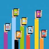 Mani di affari con gadget — Vettoriale Stock