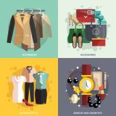 Clothes Icons Flat — Stock Vector