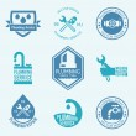 Plumbing labels icons set — Stock Vector #63750627