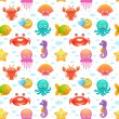 Cute sea animals seamless pattern — Stock Vector #63751869
