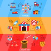 Amusement Park Banner Set — Stock Vector