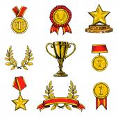 Award icons set colored — Stock Vector