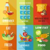 Healthy eating poster set — Stock Vector