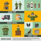 Border Guard Icon Flat — Vettoriale Stock