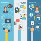 Support Call Center Banner — Stock Vector