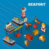 Seaport Isometric Set — Stock Vector