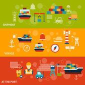 Seaport Banner Set — Stock Vector