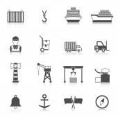 Seaport Black Icon — Stock Vector