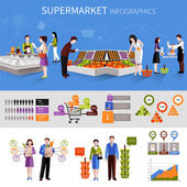 Supermarket People Infographics — Stock Vector