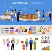 Люди супермаркета инфографика — Cтоковый вектор