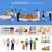 Supermarket lidí infografika — Stock vektor