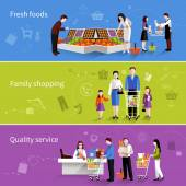 Supermarket People Banners — Stock Vector
