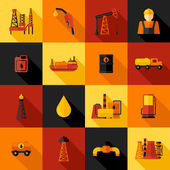 Oil Industry Icons Flat — Stock Vector