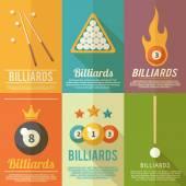 Billiards Poster Set — Stock Vector