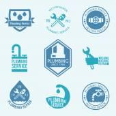 Plumbing labels icons set — Stock Vector