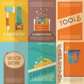Carpentry Poster Set — Stock Vector