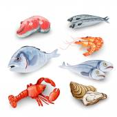 Seafood Products Set — Stock Vector