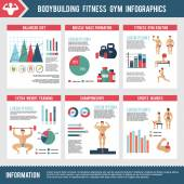 Bodybuilding Fitness Gym Infographics — Stock Vector