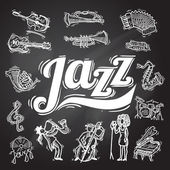 Jazz Chalkboard Set — Stock Vector