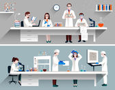 Scientists In Lab Concept — Stock Vector