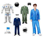 Astronaut Boy Set — Stock Vector