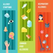 Allergy Banner Set — Stock Vector