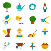 Vegetable garden flat icons set — Stock Vector