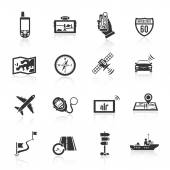 Navigation icons set black — Stock Vector
