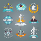Law labels icons set — Stock Vector