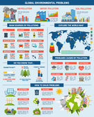 Global environment problems solution infographics — Stock Vector
