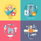 Plumbing icons composition flat — Stockvector