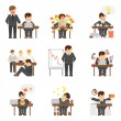 Stress at work icons set — Stock Vector #64854641