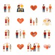 Non-traditional family icons set flat — Stock Vector #64854647