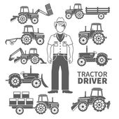 Tractor Driver Icons — Stock Vector