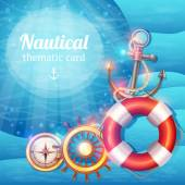 Морской фон символов — Cтоковый вектор