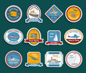 Cruise travel agency stickers set — Stock Vector